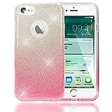 NALIA Purpurina Funda Compatible con iPhone 7, Carcasa Protectora Movil Silicona Ultra-Fina Glitter Gradiente Gel Bumper, Lentejuela Cubierta Delgado Back-Cover Smart-Phone Case - Plata/Pink