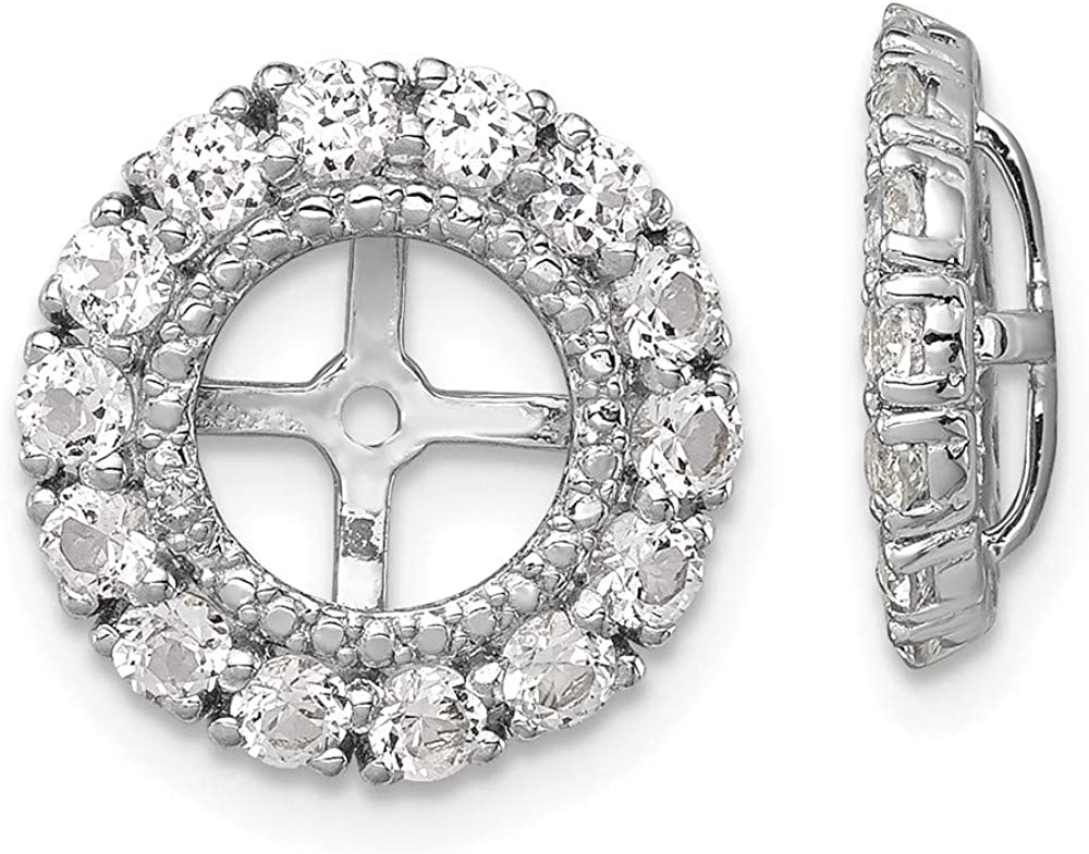 925 Max 87% OFF Sterling Silver Classic Diamond White Birthsto Earrings Topaz Jacket