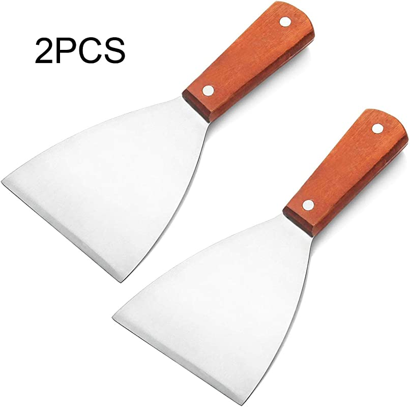 Acronde 2PCS Stainless Steel Slant Grill Griddle Spatula Scraper Diner Flat Straight Blade