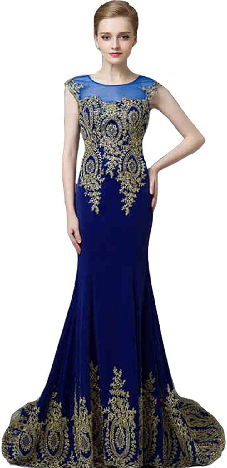 Lemai Royal bluee Mermaid gold Lace Hem Formal Sheer Pageant Long Prom Evening Dresses