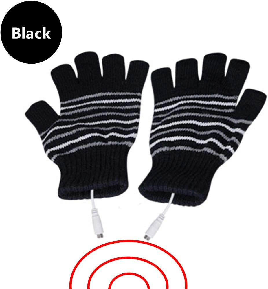 DECVO USB 2.0 Powered Stripes Heating Pattern Knitting Wool Heated Gloves Fingerless Hands Warmer Mittens Laptop Computer Warm Gloves for Women Men Girls Boys (Black)