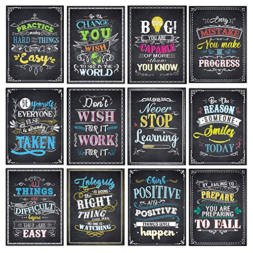 Motivational Posters for Classroom Inspirational Quotes Posters Wall Art for Students Teachers Classroom Decorations 12 x 16 Inches (11 Pack)