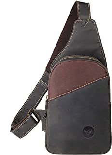Carriemeow Men;s Sling Bag Color : Brown Leather Chest Bag Crossbody Shoulder Business Backpack Outdoor Daypack for Travel Hiking Sport