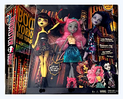 Monster High Boo York Boo York A Monsterrific Musical - Luna Mothews, Mouscedes King, and Elle Eedee 3-Pack by Mattel