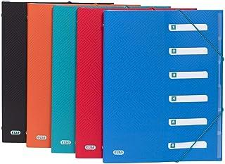 Elba Urban Lot de 10 classeurs Format A4 en plastique avec 12 compartiments 5 Couleurs opaques 6 Fächer couleurs assorties
