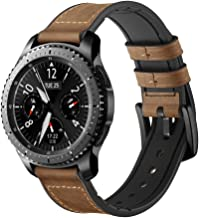 Maxjoy Compatible with Gear S3 and Galaxy Watch Bands 46mm, 22mm Hybrid Sports Band Vintage Leather Sweatproof Strap with Metal Clasp Compatible Gear S3 Frontier/Classic Smart Watch Dark Brown
