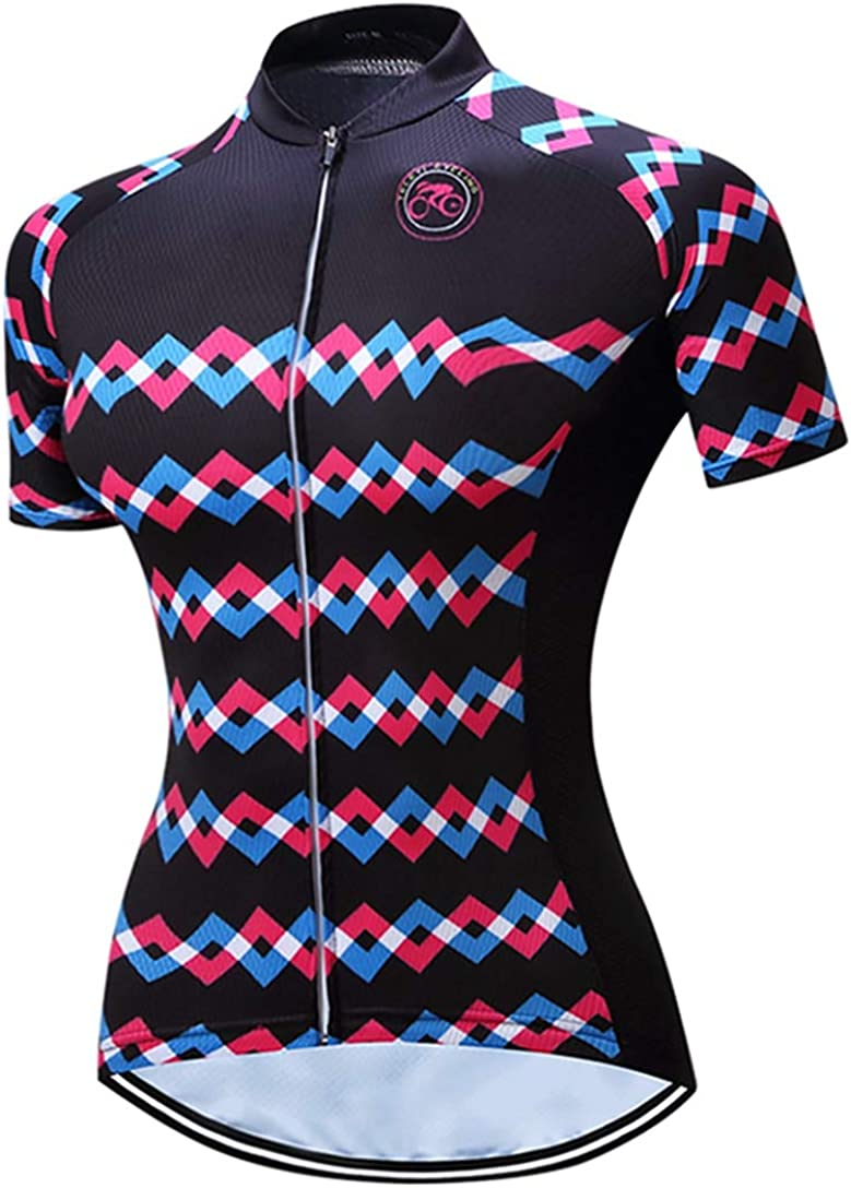 TELEYI Womens Cycling Jerseys Short Sleeve Shirts Racing Shirt Shorts Bicycle Top Bike Girl Sportwear Clothing Breathable Quick Dry
