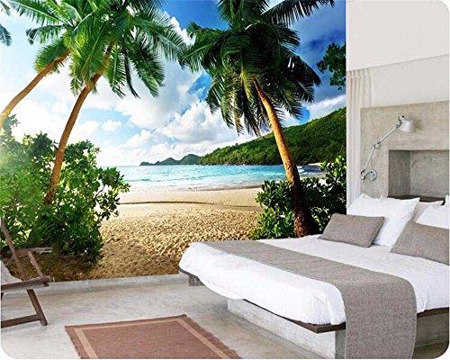 LWCX Hohe Qualität Große 3D-Wallpaper Meer Palm Beach Foto-Tv Hintergrund Wohnzimmer Wohnzimmer Seide Material 380X250CM