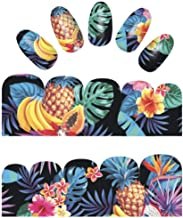 Tropical iNspired Nail Wraps Fruits Banana Pinapple Hibiscus Decals Sticker Salon Quality Nail Art - 1 Sheet Strawberries