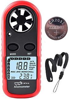 Digital Anemometer Handheld Wind Speed Meter Gauge, Velometer Wind Velocity Meter Thermometer with Air Temperature Backlit...