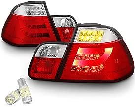 [4-Piece] VIPMOTOZ Red Lens Premium OLED Neon Tube LED Tail Light Lamp Assembly For 2002-2005 BMW E46 3-Series LCI Sedan - Full SMD LED Reverse Bulbs Included, Driver & Passenger Side Replacement Pair