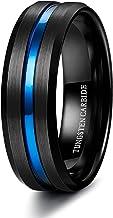 Finrezio 8mm Anillo Tungsteno para Hombres Negro Azul Cómodo para la Boda Compromiso Todos los Días Tungsten Ring Tamaño 16-25