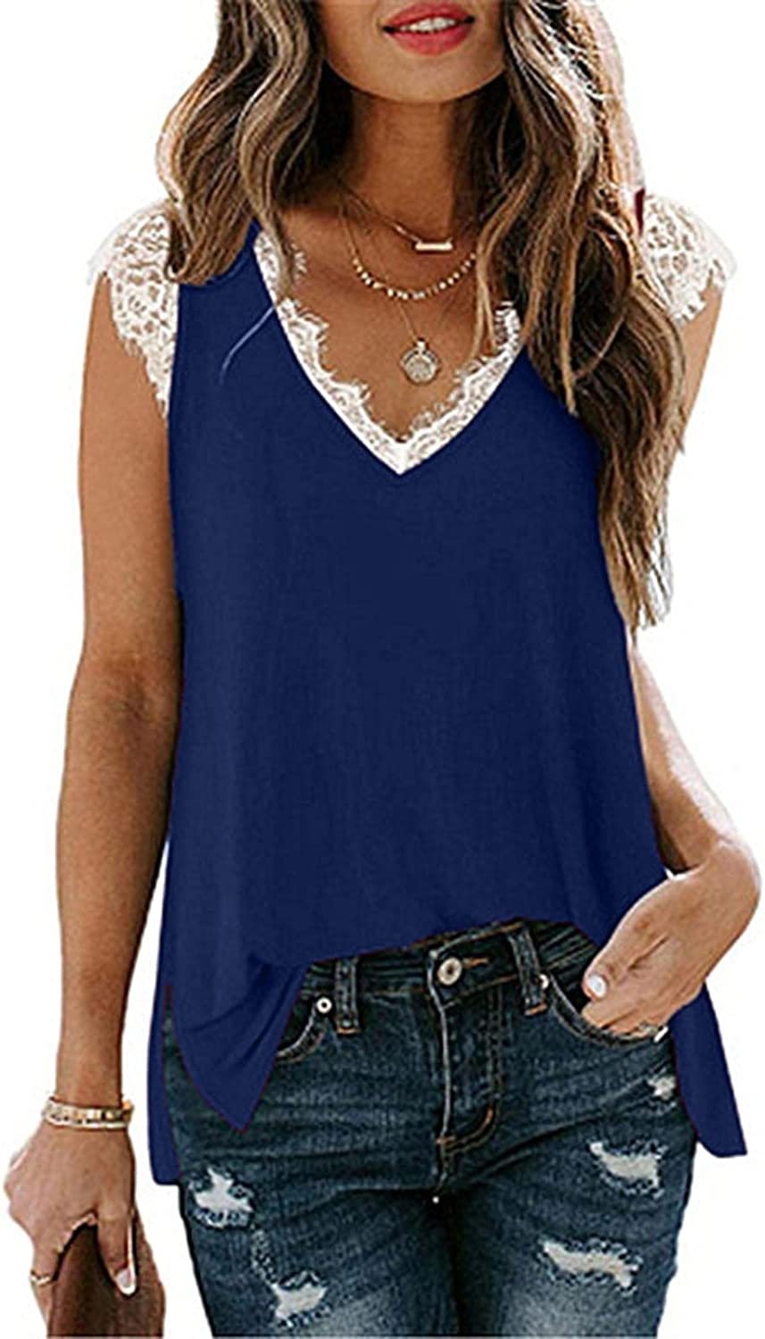 Womens Tank Tops Dressy,Tank Tops for Women V Neck Lace Solid Color Loose Fit Sleeveless Tops Shirts