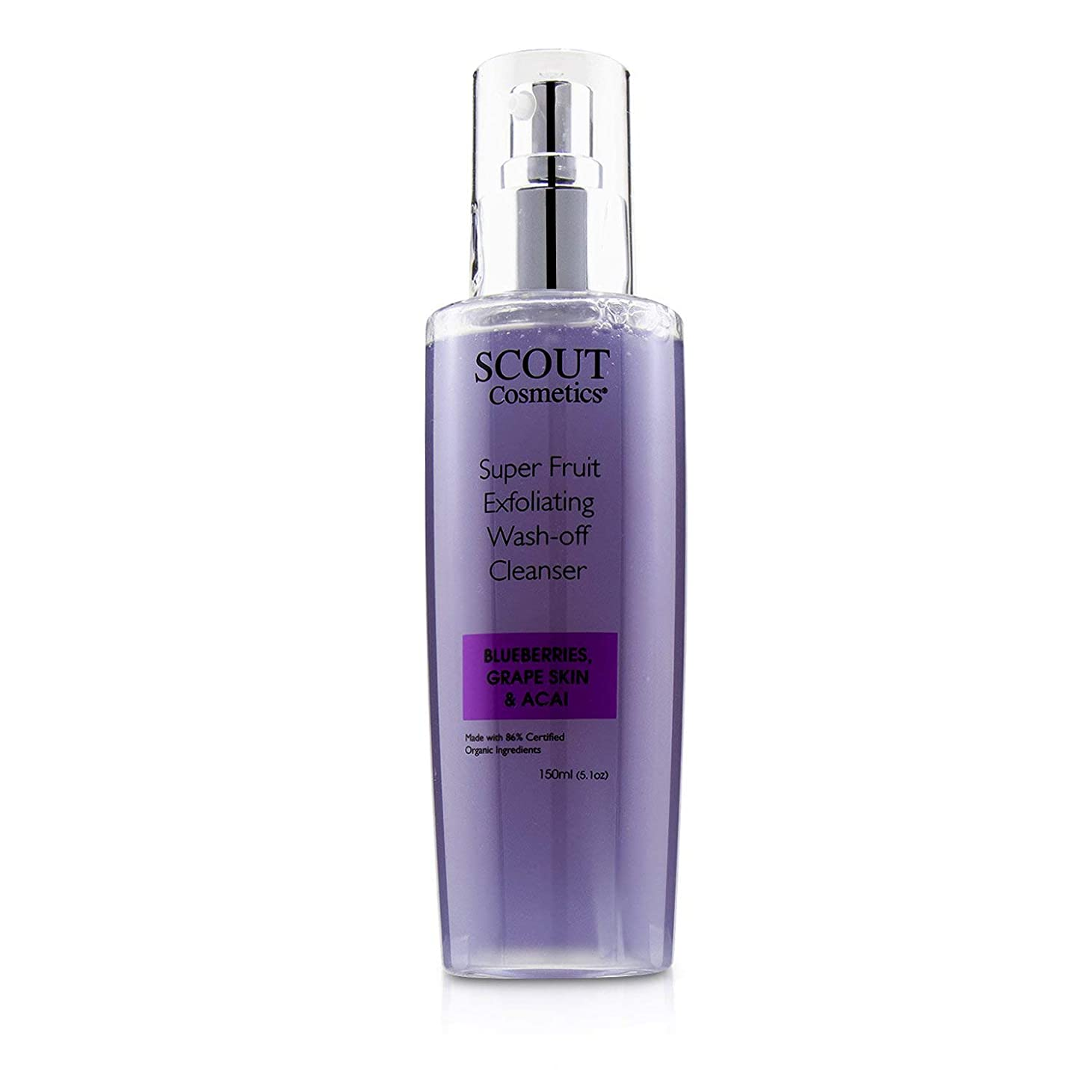 簿記係波紋エンゲージメントSCOUT Cosmetics Super Fruit Exfoliating Wash-Off Cleanser with Blueberries, Grape Skin & Acai 150ml/5.1oz並行輸入品