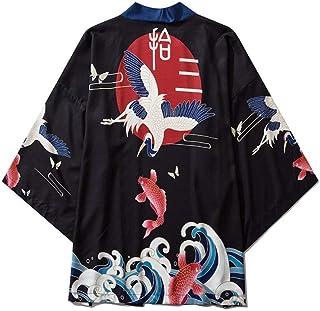 Japanese Ukiyo-e Print Robe Sea Wave Carp Fairy Crane Print Kimono Men And Women Loose Seven-point Sleeve Shirt Hyococ (Color : Color, Size : M)