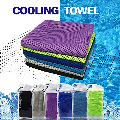 Cooling Towel for Neck Runners,Workout Towel Gym for Women/Men,Soft Breathable Instant Cooling Relief for Sports, Tennis Gift,Hot Yoga, Travel, Camping (6 Pack-Purple/Green/Navy Blue/Blue/Gray/Black)