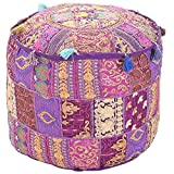 Aakriti Indian Pouf Footstool with Embroidery Pouf, Indian Cotton, Pouf, Ottoman Pouf Cover with Ethnic Decor Art -...