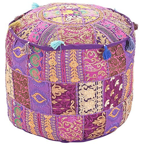 Aakriti Indian Pouf Footstool with Embroidery Pouf, Indian Cotton, Pouf, Ottoman Pouf Cover with Ethnic Decor Art - Cover (Purple, 46x33 CMS)