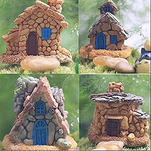 Trasfit 4 Pieces Miniature Fairy Garden Stone House - Mini Fairy Cottage House for Garden & Patio Decoration - Accessories for Home Decoration Outdoor Décor (4 Stone House)