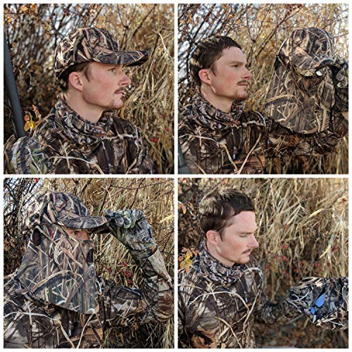QuikCamo Mossy Oak Shadow Grass Blades Camouflage Cap, Hat, with Built-in Hunting Face Mask for Duck and Goose Hunting | Duck's Unlimited Official Waterfowl Pattern Adjustable Velcro Rear Closure