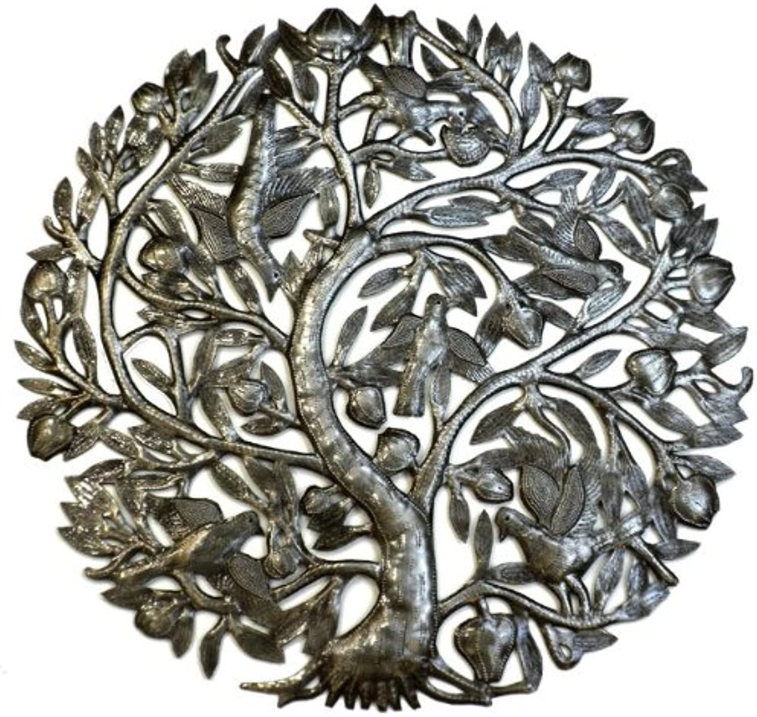 Global Crafts 24  Recycled Handmade Haitian Metal Wall Art Tree of Life with Birds, Birds and Buds