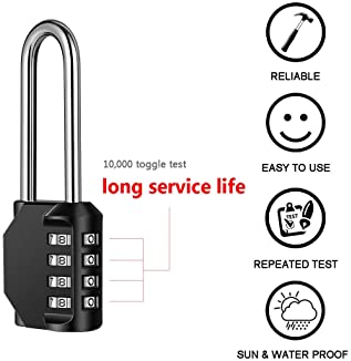 Disecu 4 Digit Combination Lock 2.5 Inch Long Shackle and Outdoor Waterproof Resettable Padlock for Gym Locker, Hasp ...