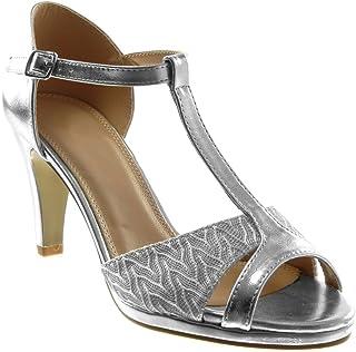 Angkorly - Chaussure Mode Escarpin Sandale salomés Stiletto Peep-Toe Femme Brillant Dentelle Talon Haut Aiguille 8.5 CM