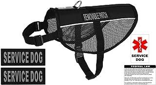 "Dogline N0253-1-0210 Service Dog Vest Harness, X-Large/30"" x 38"", Black"