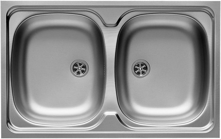 Pyramis 100117901Fregadero de cocina (doble) de acero inoxidable, color gris