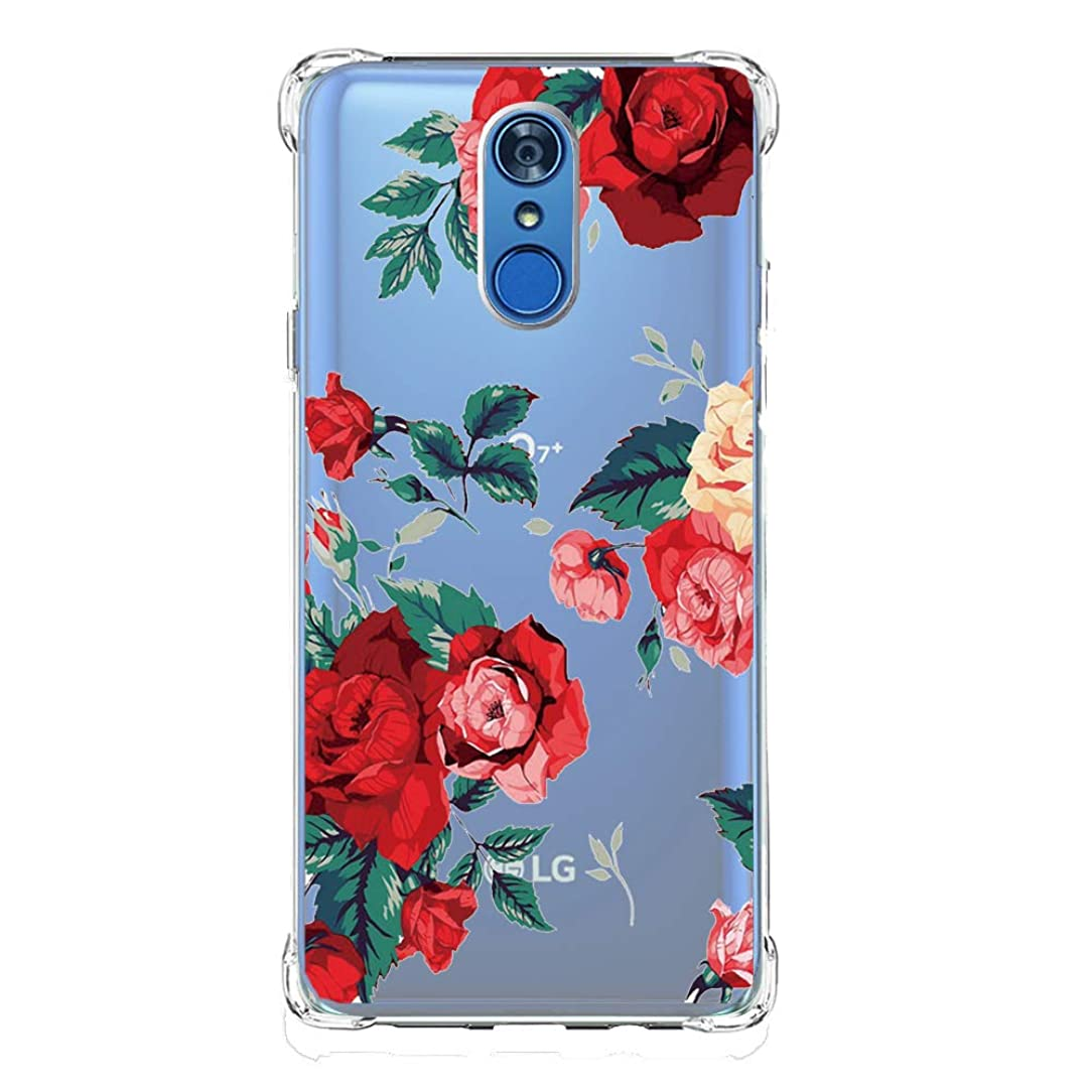 luolnh Compatible with LG Q7 Case,Slim Shockproof Clear Floral Pattern Soft Flexible TPU Back Cover for LG Q7(Red Rose)