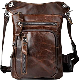 Men's Leather Water Bag Waist Bag Waist Belt Waist Hip Pack Travel Bag Motorcycle Bag Multifunction Bag (Color : Oil Skin, Size : S)