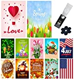 Yileqi Seasonal Garden Flags Set of 12 Double Sided 12.5x18 Inch Valentine's Day Spring Garden Flag for Outdoor Decoration Holiday Yard Flags, Festive Garden Flag with Free Anti-Wind Clip and Stopper