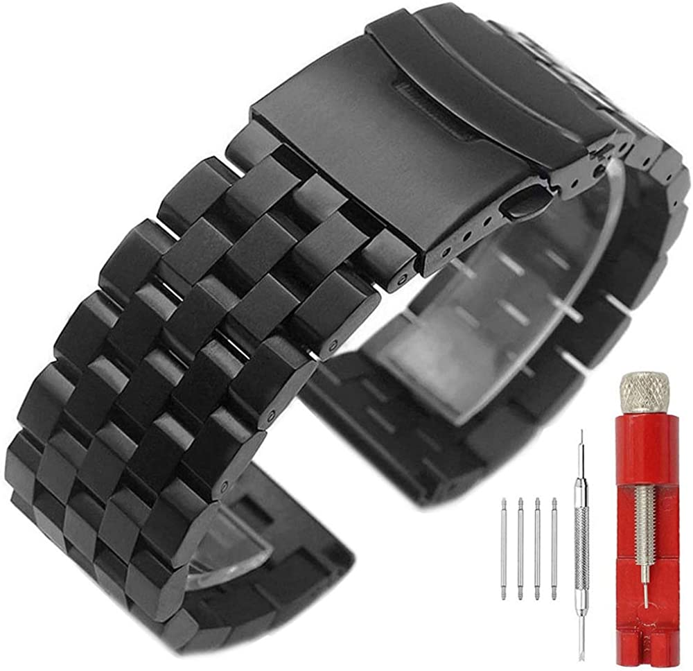 24mm 22mm 20mm 18mm Metal Watch Band Premium Solid Stainless Steel Watch Bracelet Straps for Men Women Blue/Black/Silver : SINAIKE: Clothing, Shoes & Jewelry