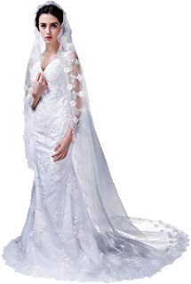 Lace Trim 3D Floral Wedding Bridal Veil 1 Tier Cathedral Length Soft Long Tulle Off White