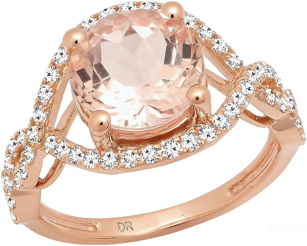Dazzlingrock Collection 14K Gold 9 MM Round Cut Morganite & Diamond Ladies Swirl Split Shank Bridal Engagement Ring