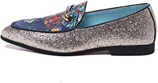 QinMei Zhou Driving Loafer for Men Classic Embroidered Boat Shoes with Metal Decoration Slip on Microfiber Leather Pointed Toe Flat Heel Breathable Lightweight (Color : Blue, Size : 9.5 UK)