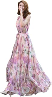 Women's Chiffon Floral Holiday Beach Bridesmaid Maxi Dress Sundress