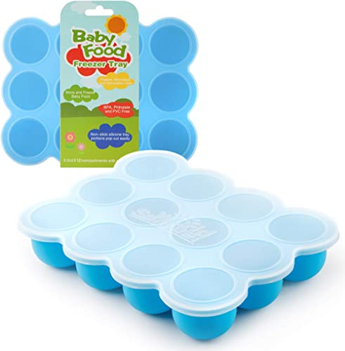 Samuelworld Baby Food Storage Container, 12 Portions Freezer Tray with Lid, 12x2.5oz BPA Free, Silicone, Perfect for ...