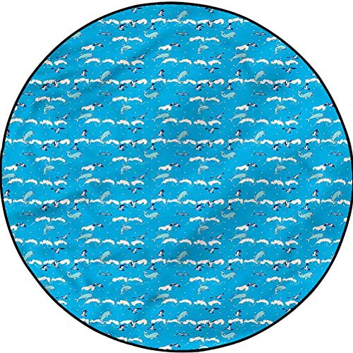 Dolphin Modern Area Rug Abstract Area Rug Design Flying Seagulls Foamy Waves Diameter 72 in(183cm)