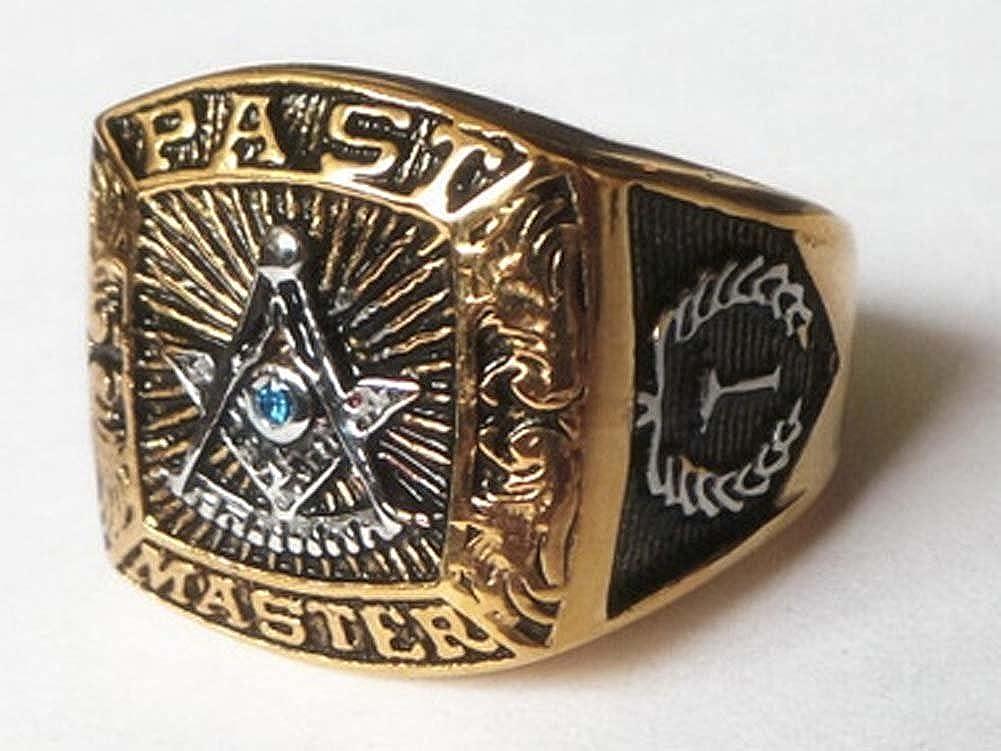 MEN Stainless Steel Black//Gold MASONIC Master Mason Oval Ring Size 8-13*GR124