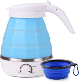 Foldable Electric Kettle Ultrathin Food Grade Silicone Kettle Travel Boil Dry Protection Portable with Dual Voltage and Separable Power Cord (680W, Blue)