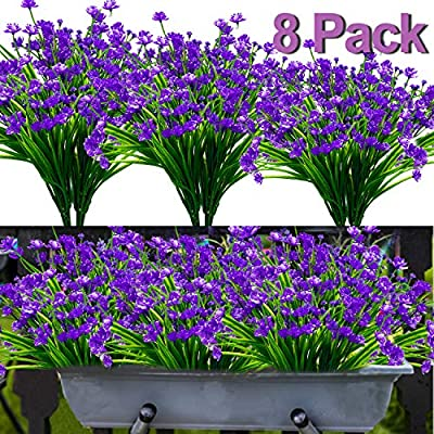 8PCS Artificial Flowers Outdoor UV Resistant Plants, 8 Branches Faux Plastic Corn-flower Greenery Shrubs Plants Indoor Outside Hanging Planter Kitchen Home Wedding Office Garden Decor (Purple)