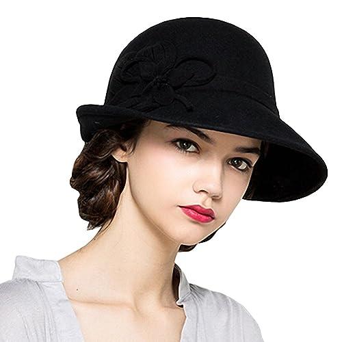 Maitose Women s Wool Felt Flowers Church Bowler Hats 0957d6f51fc6