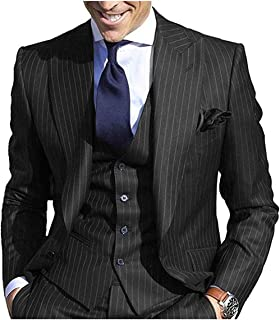 Congbride Mens Stripes Formal Groom Tuxedos Suits 3 Pieces Pinstripe Wedding Prom Suits
