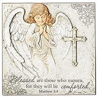 天使ガーデンストーン/お祈りエンジェルw/クロス プラーク飾り板