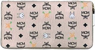 MCM Women's Beige Visetos Coated Canvas Zip Around Rabbit Wallet myl9sxl67ig001