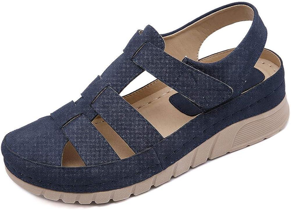 Meeshine Women's Summer Wedge Sandals Comfortable Lightweight Hook Loop Soft Beach Sandals for Lady Outdoor Causal Flats Gladiator Walking Shoes