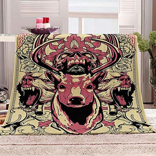 Kpdar Manta 3D impresa mantas suave y cálida franela polar manta manta para cama sofá camping y viajes – Cabeza de ciervo roja 180 x 240 cm