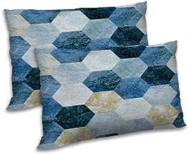 RADANYA Pantagone Printed Pillow Cover Set Polyester Fabric Rectangular Throw Bedding Gift Item - Light Blue & Grey, 12x18 Inch