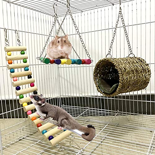 Onkessy Small Pet Toy 3 Pieces Set Climbing Ladder Hammock Grass Weave Tunnel for Small Animal Rat Hamster Squirrel Parrot Birds